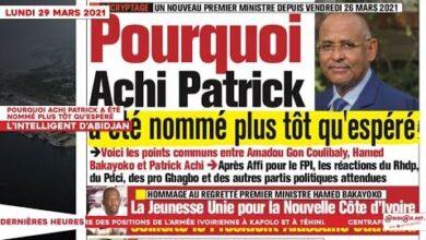 Le Titrologue Du 29 Mars 2021 Pourquoi Achi Patrick A Ete Nomme Plus Tot Quespere Lcns6Lauldo Image