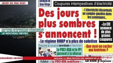 Le Titrologue Du Jeudi 06 Mai 2021 Coupures Intempestives Delectricite Des Jours Plus Sombres S Bkqtb1As2Be Image