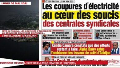Le Titrologue Du Lundi 03 Mai 2021 Fete Du Travail Les Coupures Delectricite Au Coeur Des Souc Xix3K5Om8Hm Image