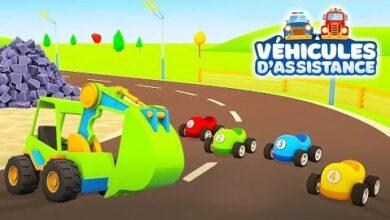 Dessins Animes Pour Enfants Les Vehicules Dassistance Et Les Voitures De Course 1C Kaamy5Yg Image