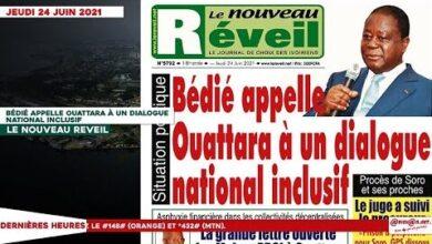 Le Titrologue Du Jeudi 24 Juin 2021 Bedie Appelle Ouattara A Un Dialogue National Inclusif Gjdsozrnin8 Image