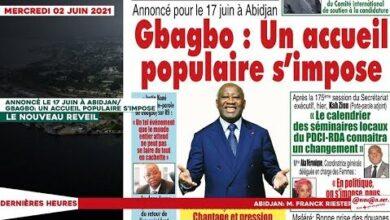 Le Titrologue Du Mercredi 02 Juin 2021 Annonce Pour Le 17 Juin Gbagbo Un Accueil Populaire Simp S0S2Ges90Tc Image
