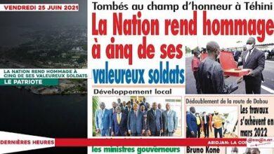 Le Titrologue Du Vendredi 25 Juin 2021 La Nation Rend Hommage A Cinq De Ses Valeureux Soldats Uhumsqbd7Vi Image