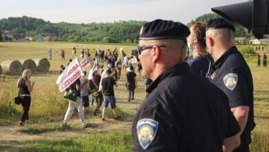 Protesto Pelos Direitos Humanos Dos Migrantes Bloqueados Sfp9Eksb Km Image