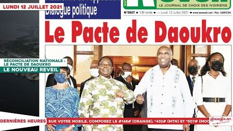 Le Titrologue Du 12 Juillet 2021 Reconciliation Nationale Le Pacte De Daoukro Wrtek0 586E Image