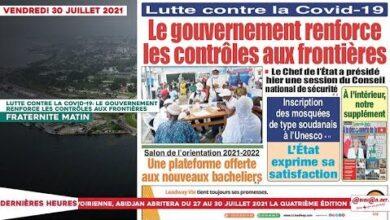 Le Titrologue Du Vendredi 30 Juillet 2021 Lutte Contre La Covid 19 Le Gouvernement Renforce Les Co Um Kkpzurxu Image
