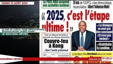 Le Titrologue Du Mardi 31 Aout 2021 20 Ans De Ludpci Crise Democratique Reconciliation Pmzlabutnn4 Image